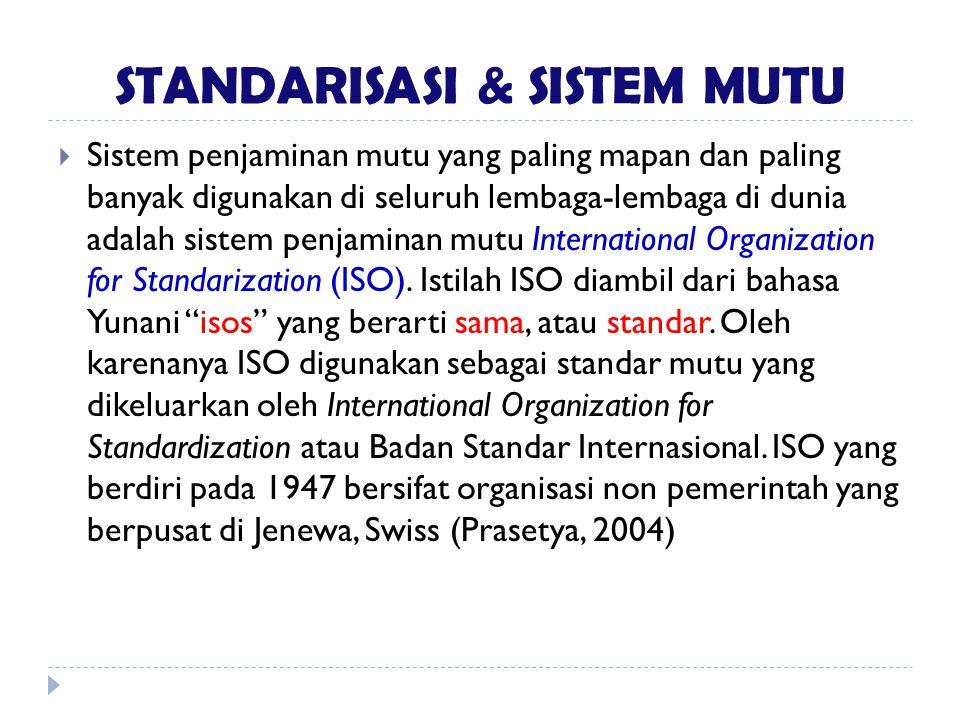STANDARISASI & SISTEM MUTU  Sistem penjaminan mutu yang paling mapan dan paling banyak digunakan di seluruh lembaga-lembaga di dunia adalah sistem pe