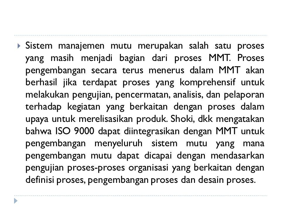  Sistem manajemen mutu merupakan salah satu proses yang masih menjadi bagian dari proses MMT. Proses pengembangan secara terus menerus dalam MMT akan