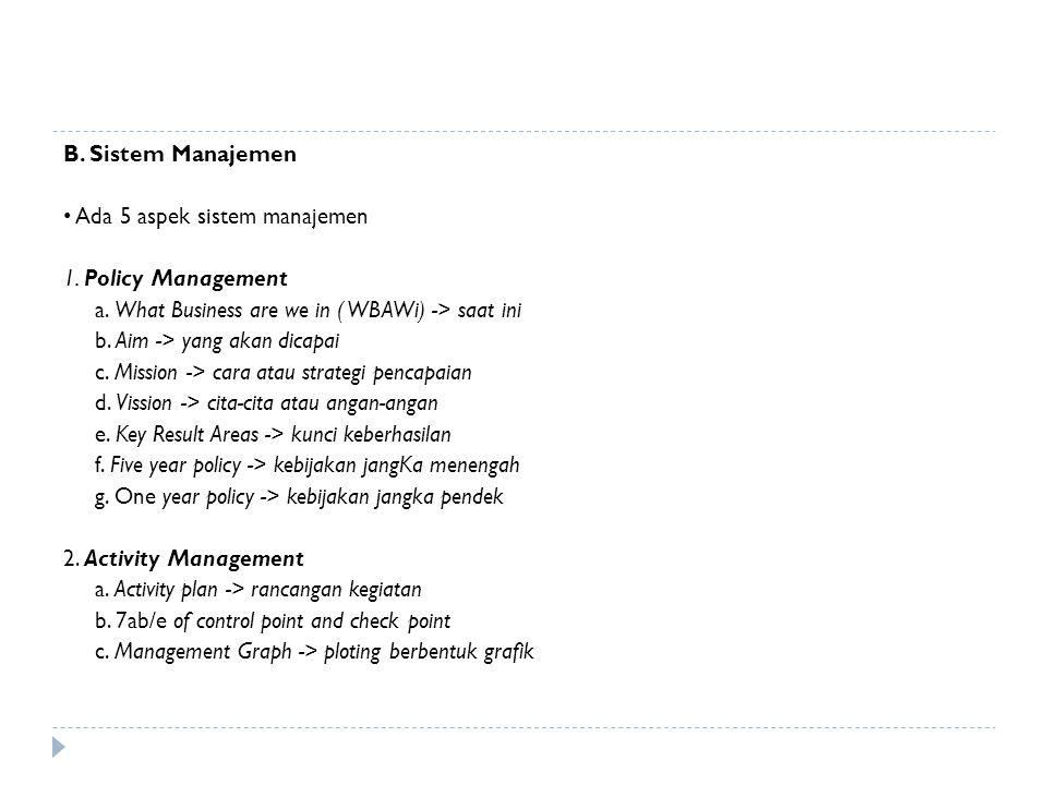 B. Sistem Manajemen Ada 5 aspek sistem manajemen 1. Policy Management a. What Business are we in ( WBAWi) -> saat ini b. Aim -> yang akan dicapai c. M