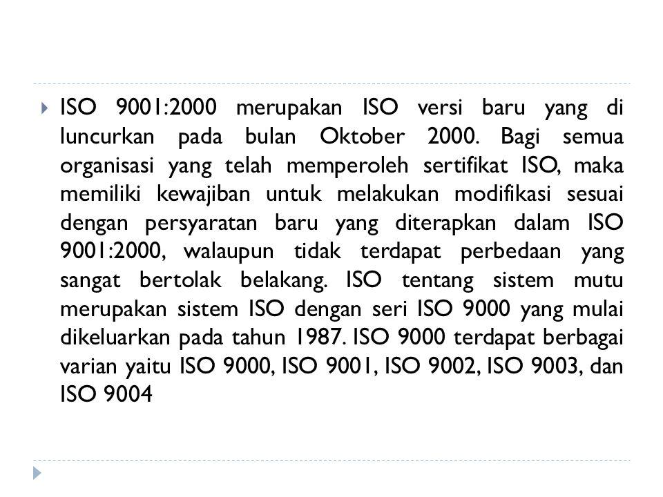  ISO 9001:2000 merupakan ISO versi baru yang di luncurkan pada bulan Oktober 2000. Bagi semua organisasi yang telah memperoleh sertifikat ISO, maka m