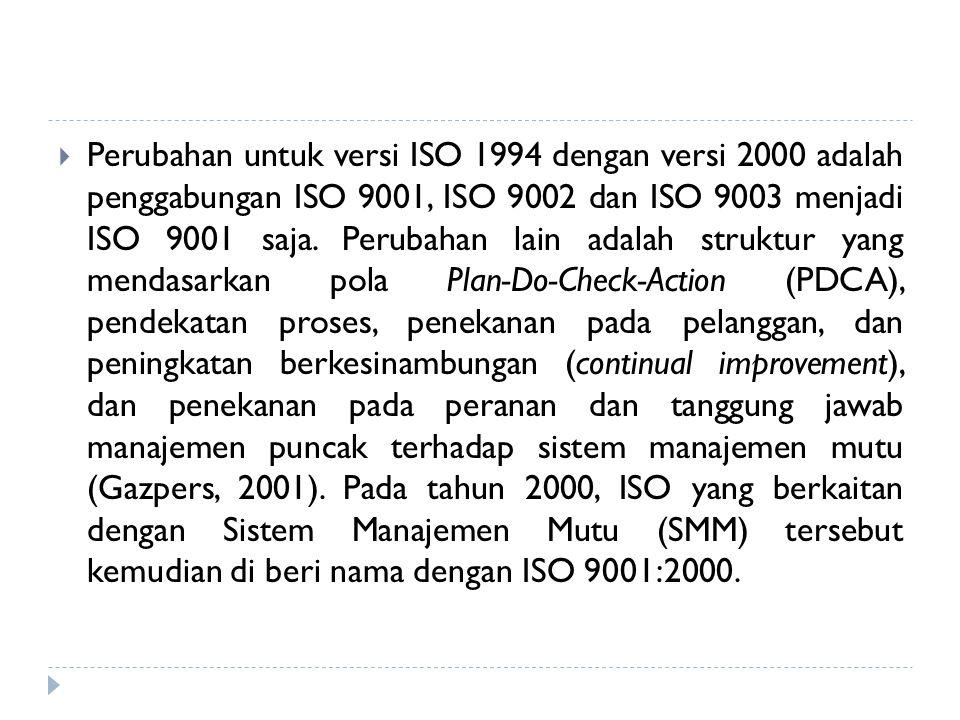 Perubahan untuk versi ISO 1994 dengan versi 2000 adalah penggabungan ISO 9001, ISO 9002 dan ISO 9003 menjadi ISO 9001 saja. Perubahan lain adalah st