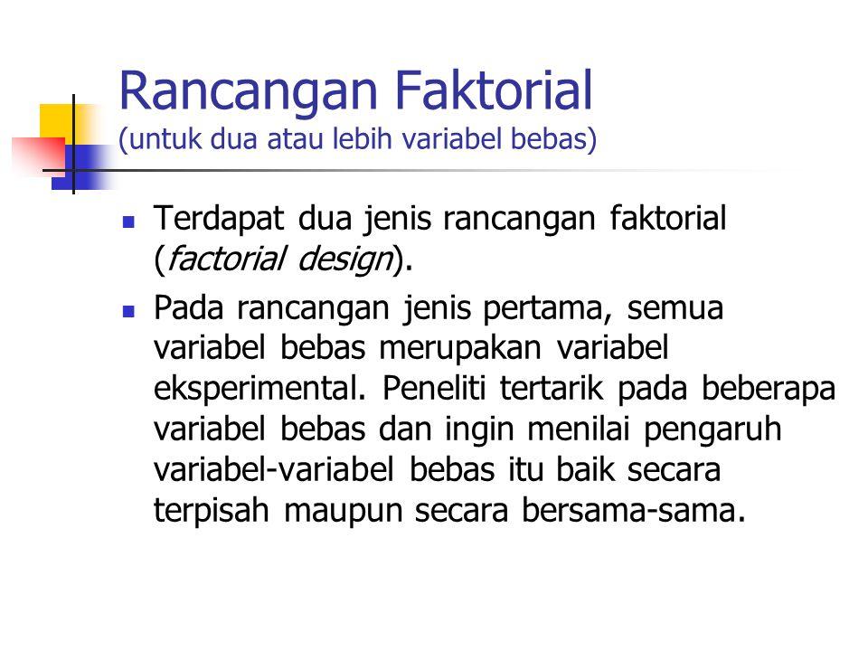 Rancangan Faktorial (untuk dua atau lebih variabel bebas) Terdapat dua jenis rancangan faktorial (factorial design). Pada rancangan jenis pertama, sem