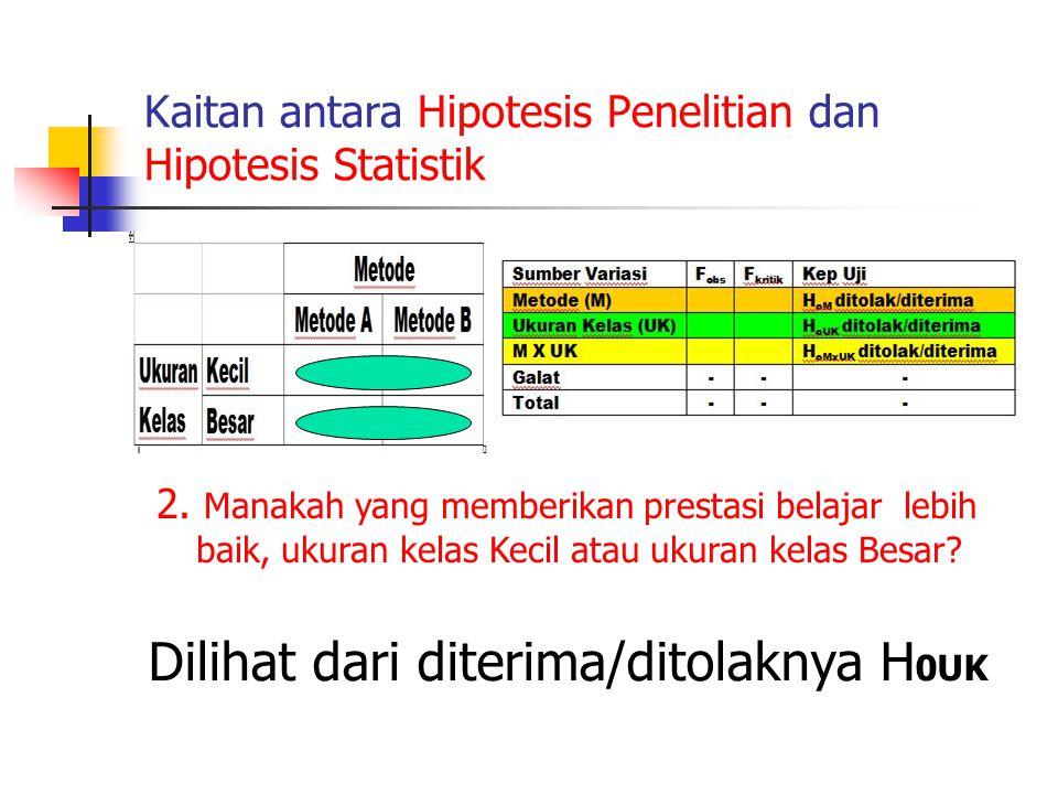 Kaitan antara Hipotesis Penelitian dan Hipotesis Statistik 2. Manakah yang memberikan prestasi belajar lebih baik, ukuran kelas Kecil atau ukuran kela