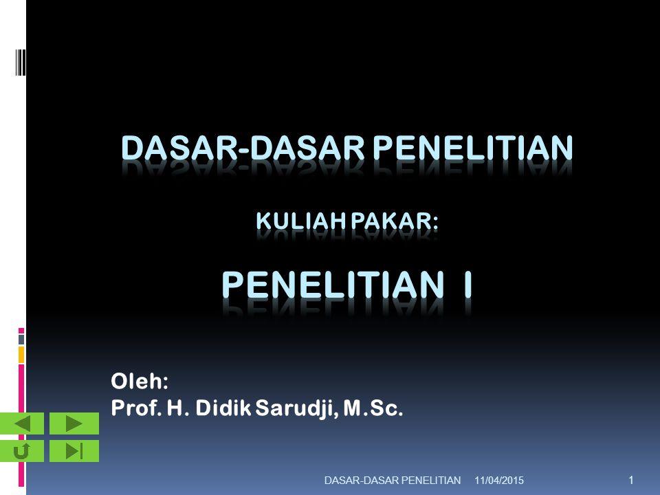 11/04/2015DASAR-DASAR PENELITIAN 1 Oleh: Prof. H. Didik Sarudji, M.Sc.
