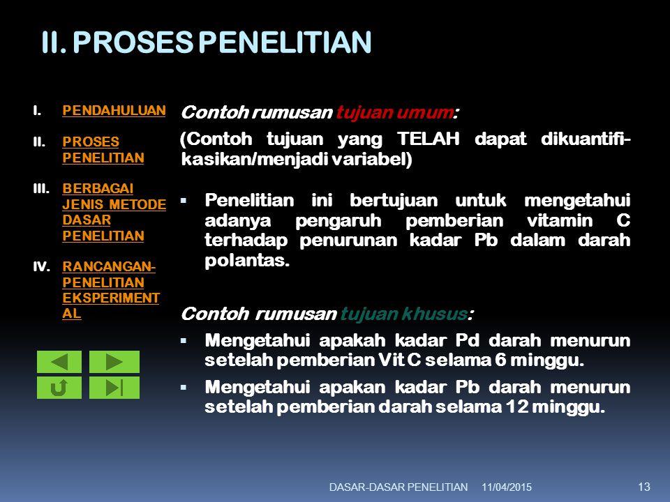 II. PROSES PENELITIAN Contoh rumusan tujuan umum: (Contoh tujuan yang TELAH dapat dikuantifi- kasikan/menjadi variabel)  Penelitian ini bertujuan unt