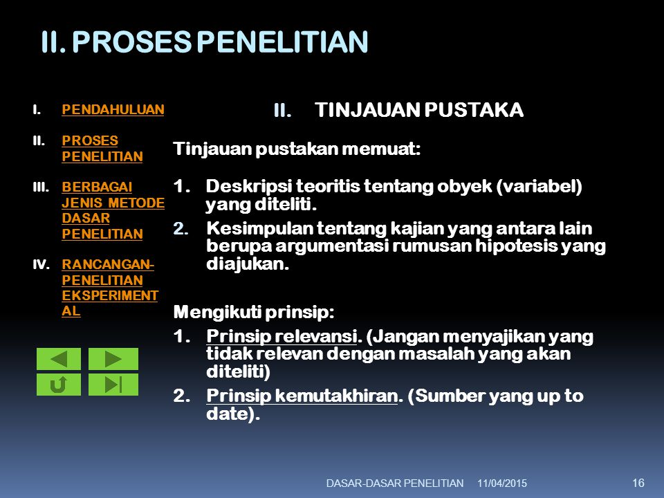 II. PROSES PENELITIAN II. TINJAUAN PUSTAKA Tinjauan pustakan memuat: 1.Deskripsi teoritis tentang obyek (variabel) yang diteliti. 2. Kesimpulan tentan