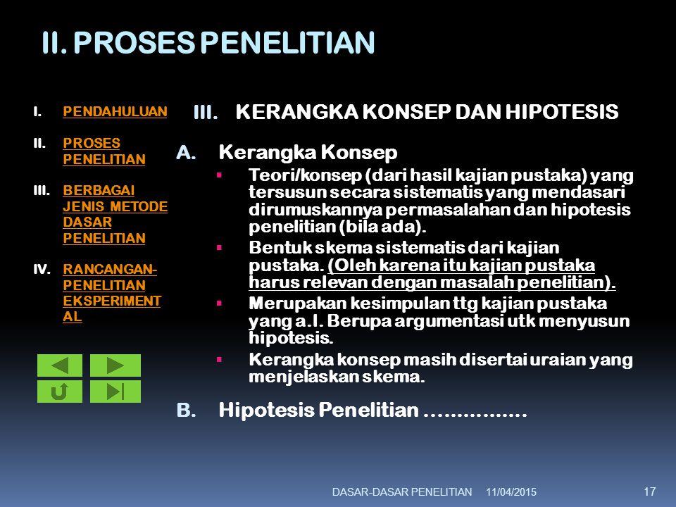 II. PROSES PENELITIAN III. KERANGKA KONSEP DAN HIPOTESIS A. Kerangka Konsep  Teori/konsep (dari hasil kajian pustaka) yang tersusun secara sistematis