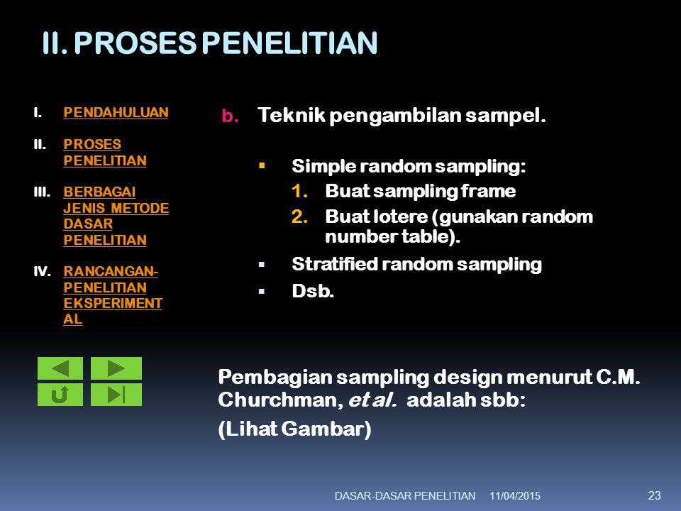 II. PROSES PENELITIAN b. Teknik pengambilan sampel.  Simple random sampling: 1.Buat sampling frame 2.Buat lotere (gunakan random number table).  Str