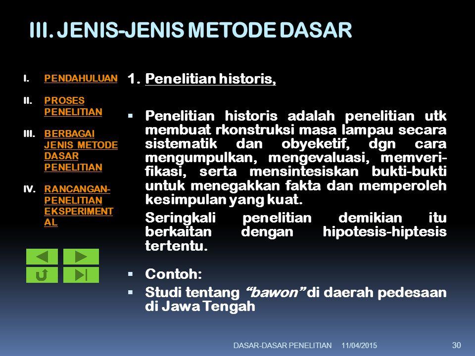 III. JENIS-JENIS METODE DASAR 1.Penelitian historis,  Penelitian historis adalah penelitian utk membuat rkonstruksi masa lampau secara sistematik dan