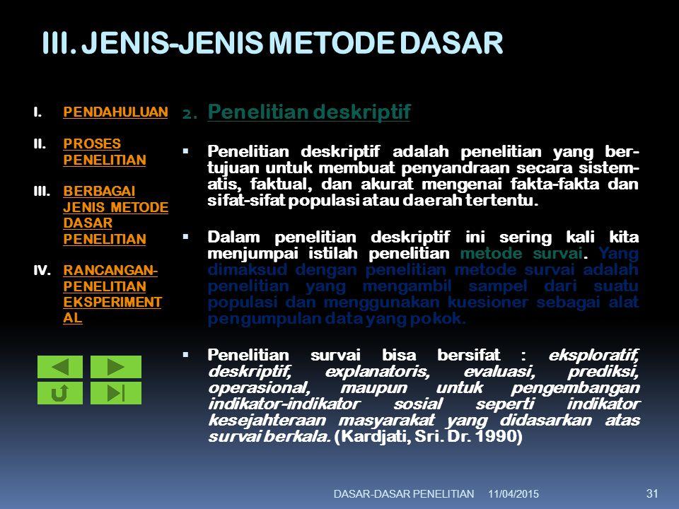 III. JENIS-JENIS METODE DASAR 2. Penelitian deskriptif  Penelitian deskriptif adalah penelitian yang ber- tujuan untuk membuat penyandraan secara sis