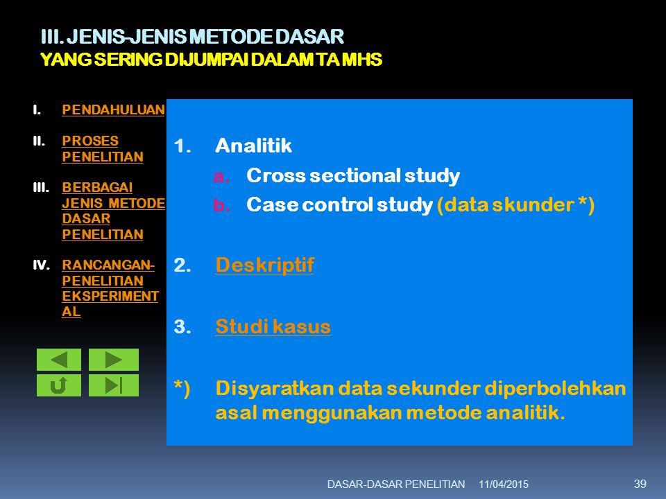 III. JENIS-JENIS METODE DASAR YANG SERING DIJUMPAI DALAM TA MHS 1. Analitik a. Cross sectional study b. Case control study (data skunder *) 2. Deskrip