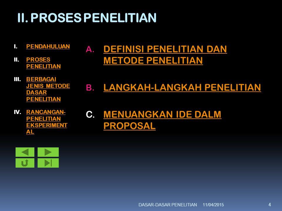 II. PROSES PENELITIAN A. DEFINISI PENELITIAN DAN METODE PENELITIAN DEFINISI PENELITIAN DAN METODE PENELITIAN B. LANGKAH-LANGKAH PENELITIAN LANGKAH-LAN