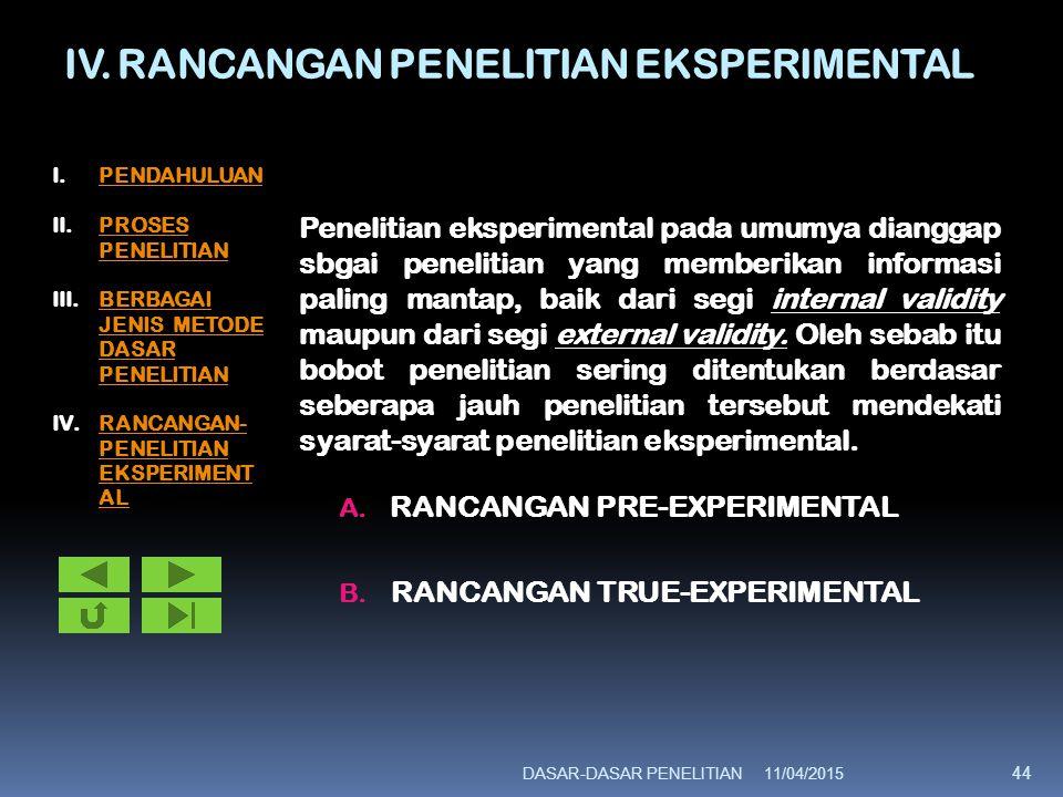 IV. RANCANGAN PENELITIAN EKSPERIMENTAL Penelitian eksperimental pada umumya dianggap sbgai penelitian yang memberikan informasi paling mantap, baik da
