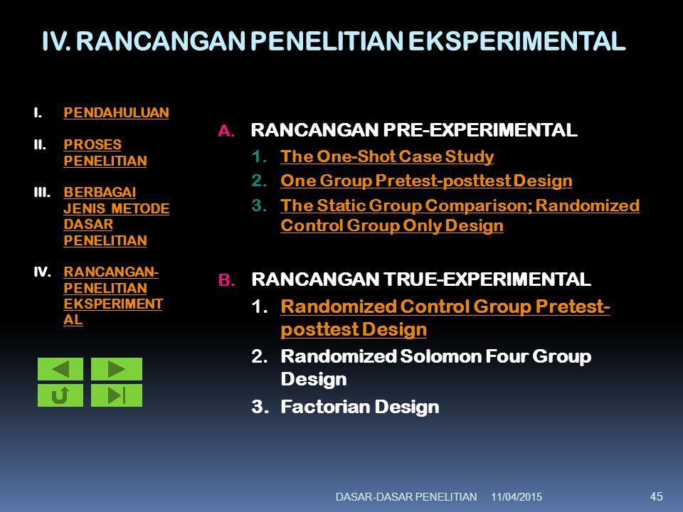 IV. RANCANGAN PENELITIAN EKSPERIMENTAL A. RANCANGAN PRE-EXPERIMENTAL 1.The One-Shot Case StudyThe One-Shot Case Study 2.One Group Pretest-posttest Des