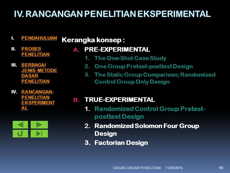 IV. RANCANGAN PENELITIAN EKSPERIMENTAL Kerangka konsep : A. PRE-EXPERIMENTAL 1.The One-Shot Case Study 2.One Group Pretest-posttest Design 3.The Stati