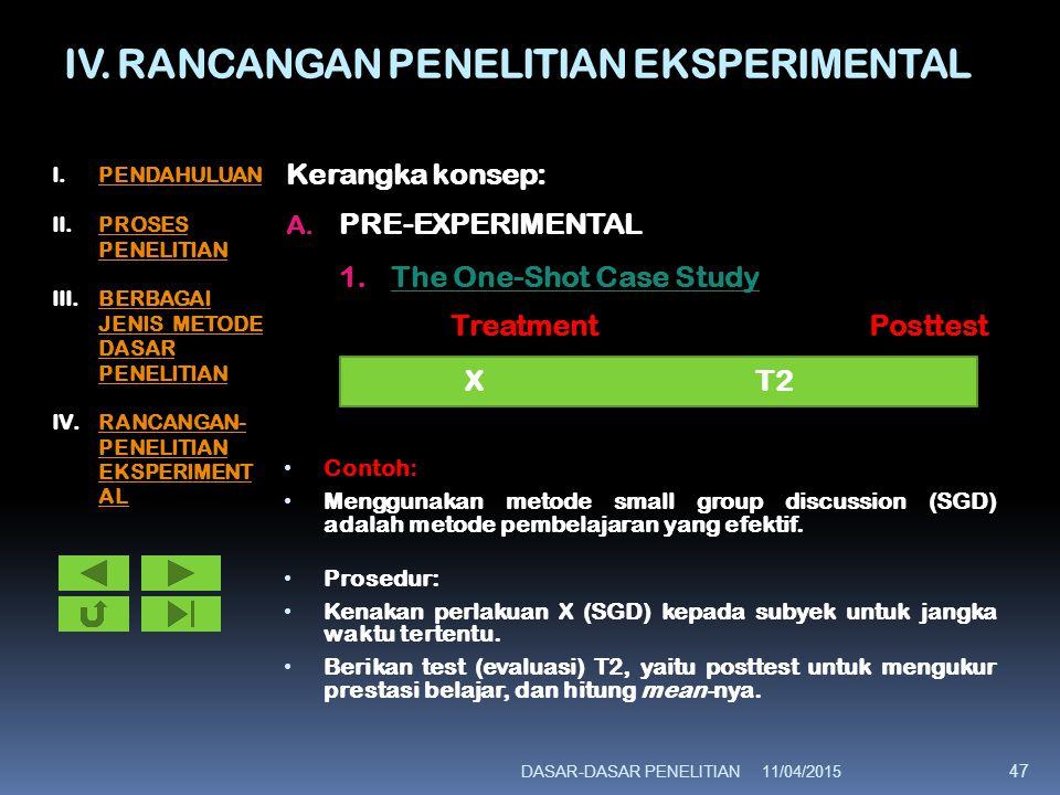 IV. RANCANGAN PENELITIAN EKSPERIMENTAL Kerangka konsep: A. PRE-EXPERIMENTAL 1.The One-Shot Case Study Treatment Posttest Contoh: Menggunakan metode sm