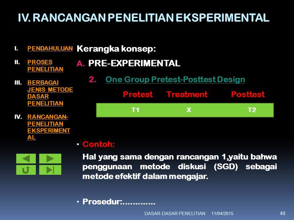 IV. RANCANGAN PENELITIAN EKSPERIMENTAL Kerangka konsep: A. PRE-EXPERIMENTAL 2.One Group Pretest-Posttest Design Pretest Treatment Posttest Contoh: Hal