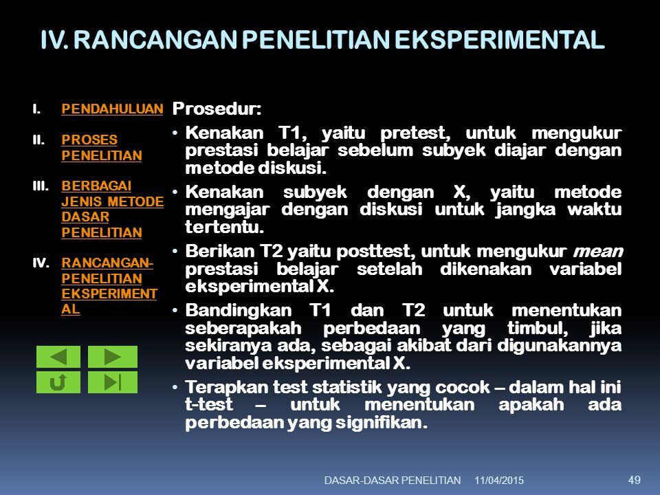 IV. RANCANGAN PENELITIAN EKSPERIMENTAL Prosedur: Kenakan T1, yaitu pretest, untuk mengukur prestasi belajar sebelum subyek diajar dengan metode diskus