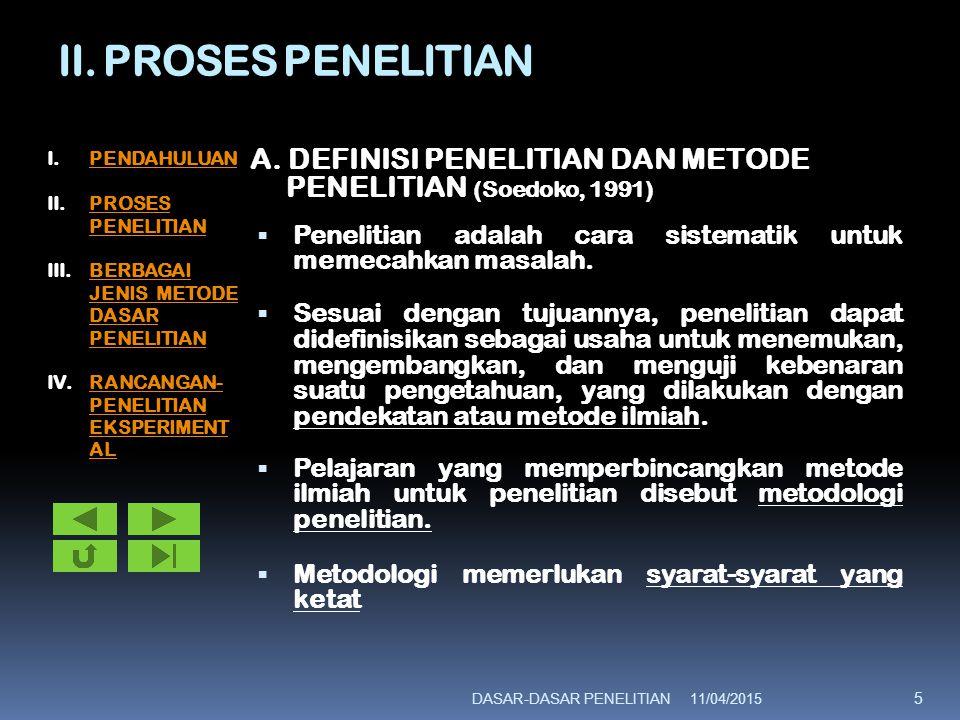II. PROSES PENELITIAN A. DEFINISI PENELITIAN DAN METODE PENELITIAN (Soedoko, 1991)  Penelitian adalah cara sistematik untuk memecahkan masalah.  Ses