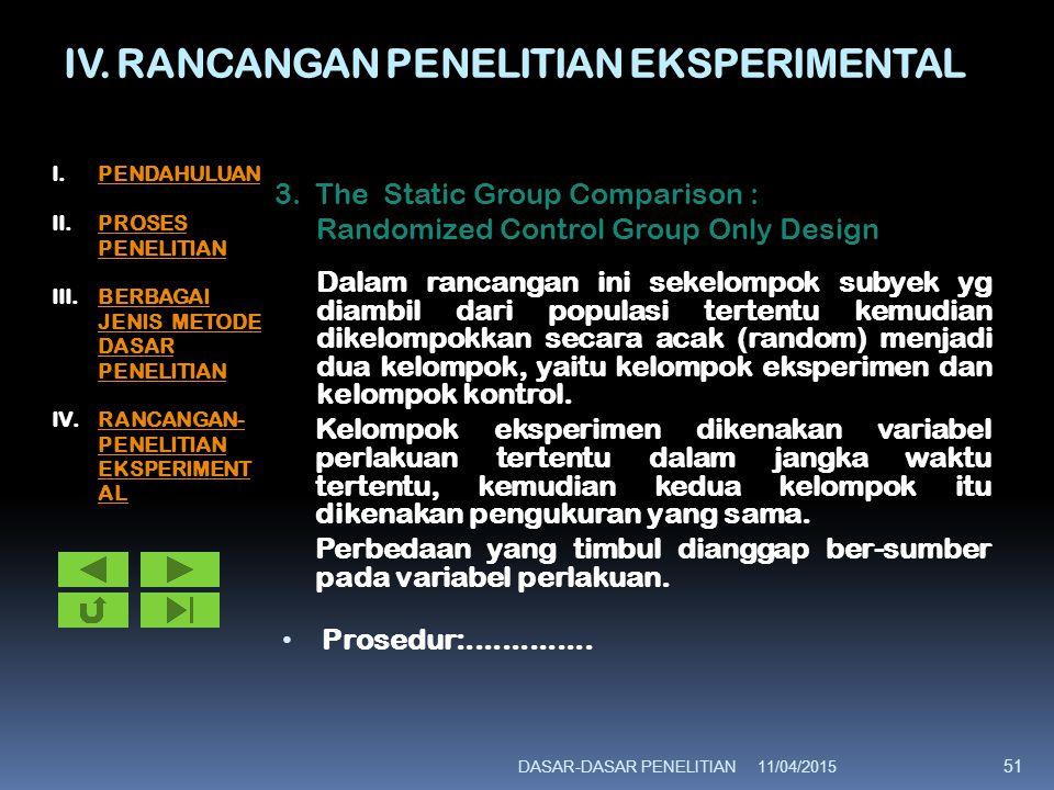 IV. RANCANGAN PENELITIAN EKSPERIMENTAL 3. The Static Group Comparison : Randomized Control Group Only Design Dalam rancangan ini sekelompok subyek yg