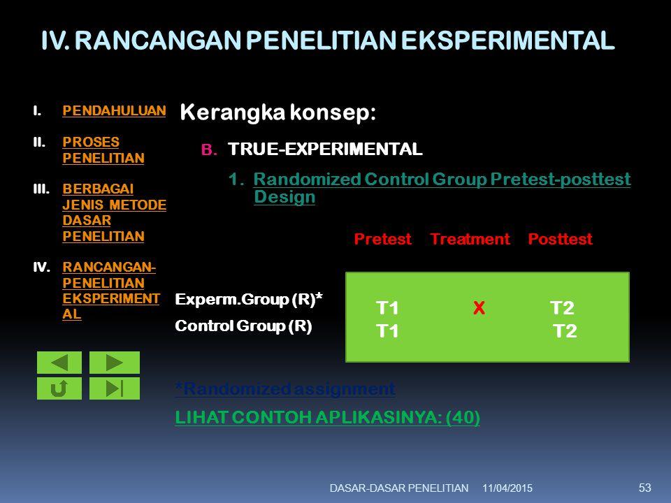 IV. RANCANGAN PENELITIAN EKSPERIMENTAL Kerangka konsep: B. TRUE-EXPERIMENTAL 1. Randomized Control Group Pretest-posttest Design Pretest Treatment Pos