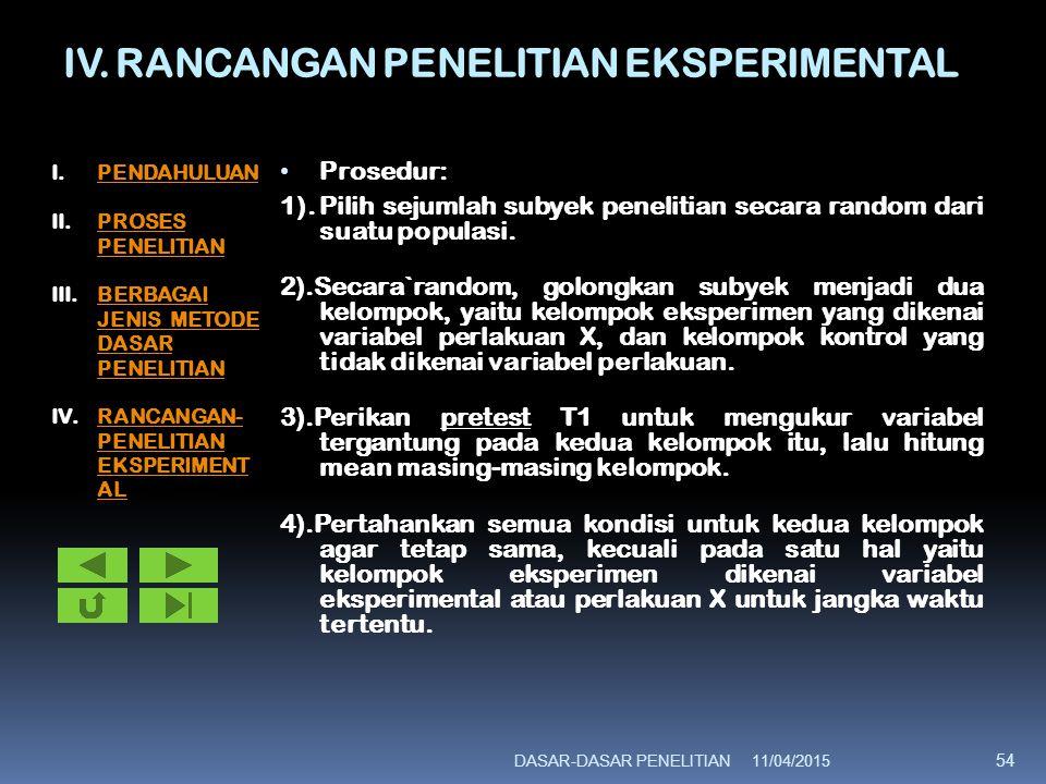 IV. RANCANGAN PENELITIAN EKSPERIMENTAL Prosedur: 1).Pilih sejumlah subyek penelitian secara random dari suatu populasi. 2).Secara`random, golongkan su