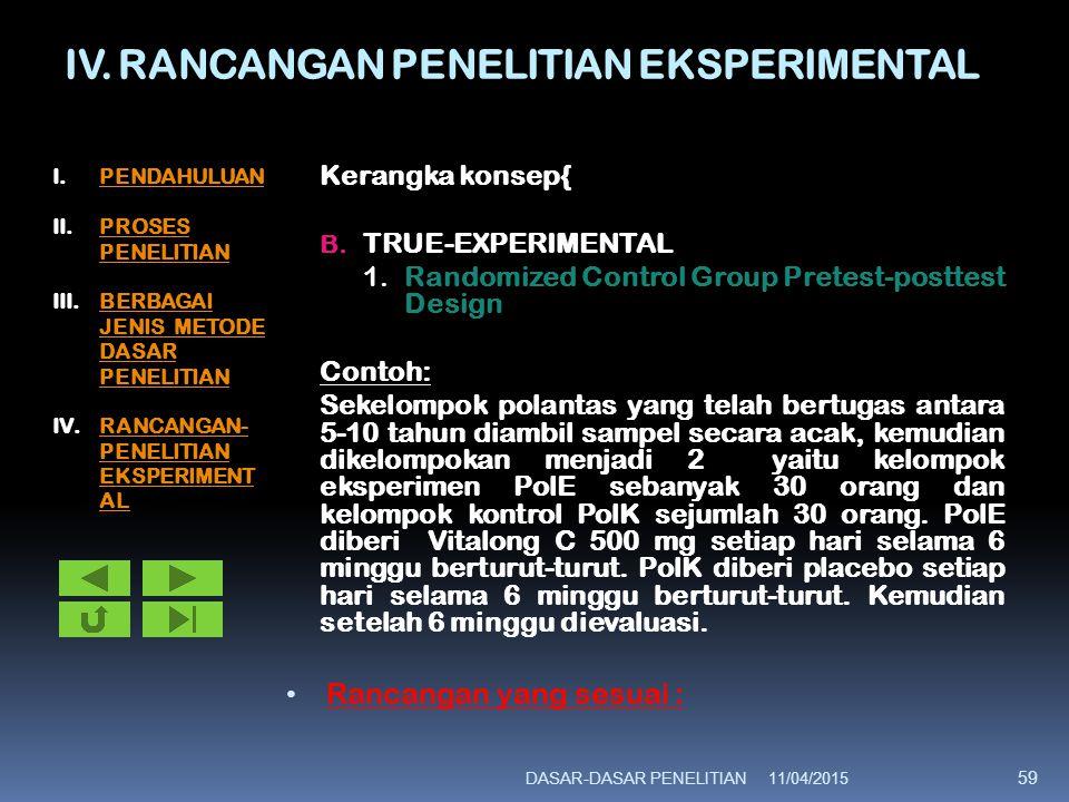 IV. RANCANGAN PENELITIAN EKSPERIMENTAL Kerangka konsep{ B. TRUE-EXPERIMENTAL 1.Randomized Control Group Pretest-posttest Design Contoh: Sekelompok pol