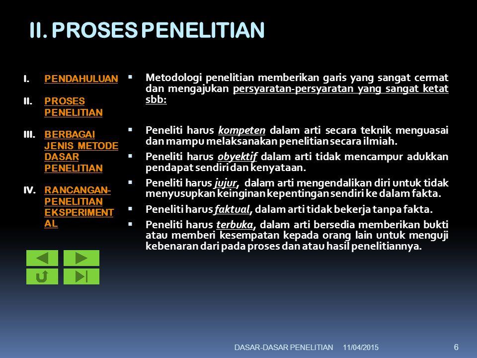 II. PROSES PENELITIAN  Metodologi penelitian memberikan garis yang sangat cermat dan mengajukan persyaratan-persyaratan yang sangat ketat sbb:  Pene