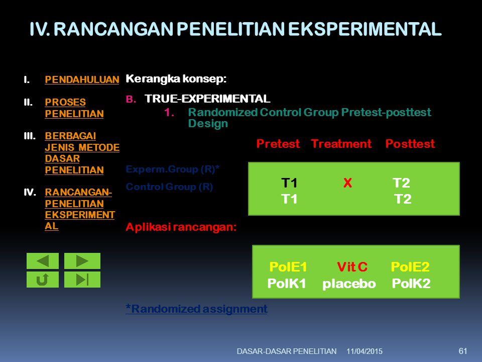IV. RANCANGAN PENELITIAN EKSPERIMENTAL Kerangka konsep: B. TRUE-EXPERIMENTAL 1.Randomized Control Group Pretest-posttest Design Pretest Treatment Post