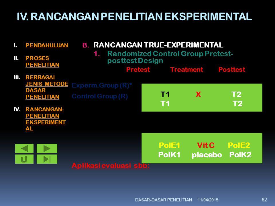 IV.RANCANGAN PENELITIAN EKSPERIMENTAL B.