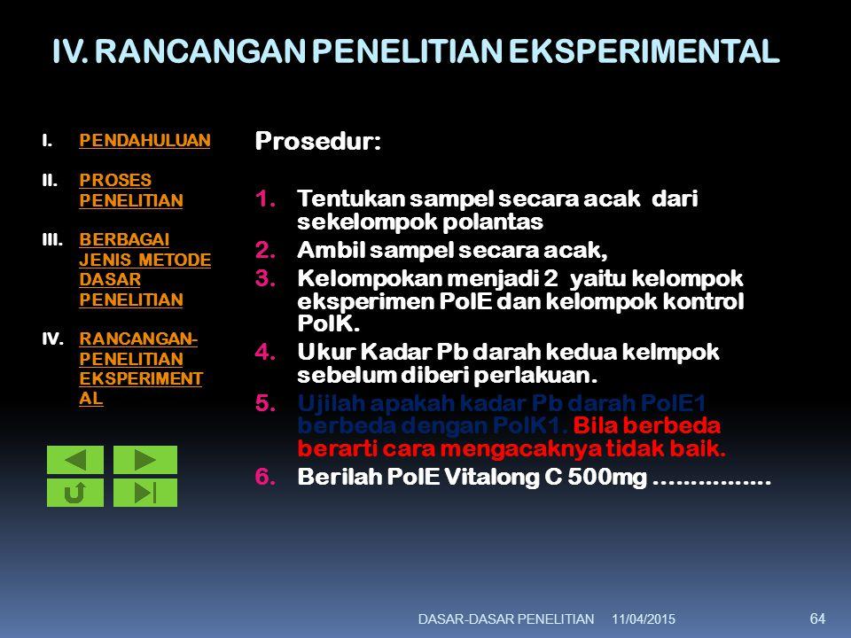 IV. RANCANGAN PENELITIAN EKSPERIMENTAL Prosedur: 1.Tentukan sampel secara acak dari sekelompok polantas 2.Ambil sampel secara acak, 3.Kelompokan menja