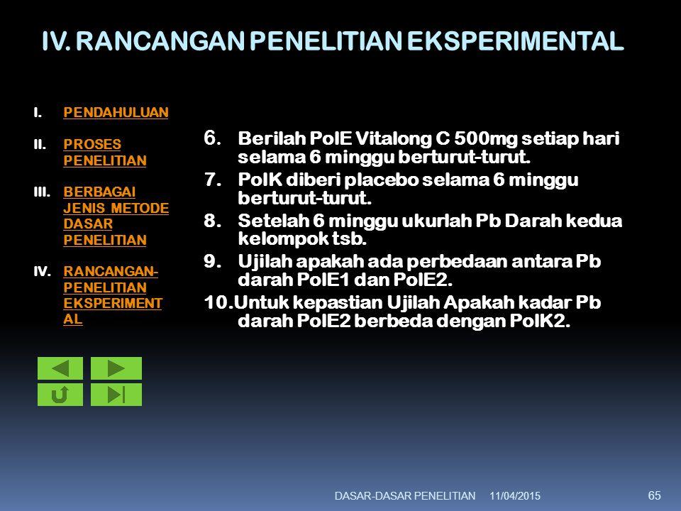 IV. RANCANGAN PENELITIAN EKSPERIMENTAL 6. Berilah PolE Vitalong C 500mg setiap hari selama 6 minggu berturut-turut. 7.PolK diberi placebo selama 6 min