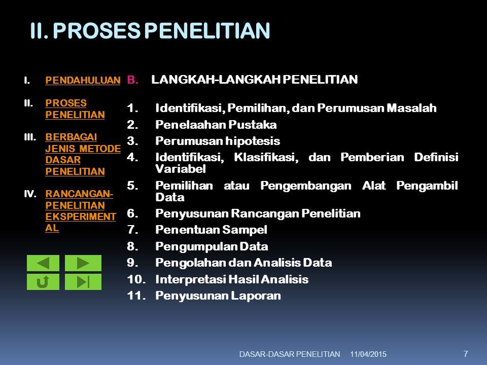 II. PROSES PENELITIAN B. LANGKAH-LANGKAH PENELITIAN 1.Identifikasi, Pemilihan, dan Perumusan Masalah 2.Penelaahan Pustaka 3.Perumusan hipotesis 4.Iden