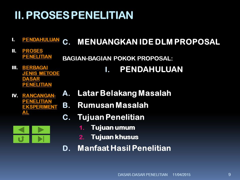 II. PROSES PENELITIAN C. MENUANGKAN IDE DLM PROPOSAL BAGIAN-BAGIAN POKOK PROPOSAL: I. PENDAHULUAN A. Latar Belakang Masalah B. Rumusan Masalah C. Tuju