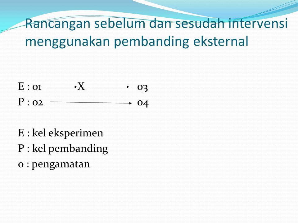 Rancangan sebelum dan sesudah intervensi menggunakan pembanding eksternal E : 01X03 P : 0204 E : kel eksperimen P : kel pembanding 0 : pengamatan
