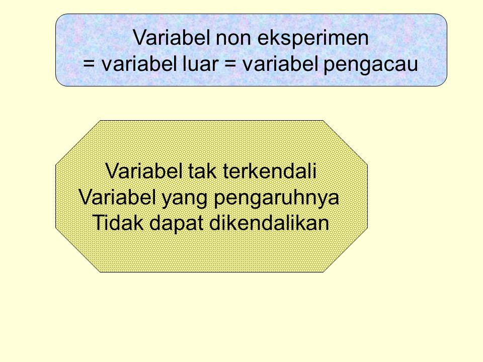 Variabel non eksperimen = variabel luar = variabel pengacau Variabel tak terkendali Variabel yang pengaruhnya Tidak dapat dikendalikan