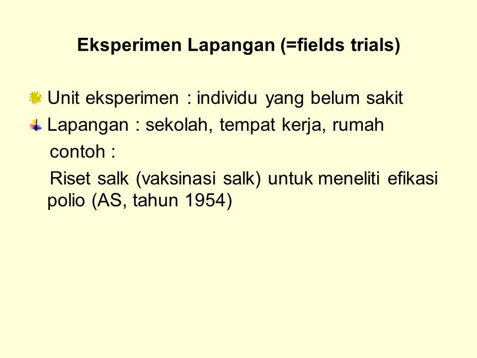 Eksperimen Lapangan (=fields trials) Unit eksperimen : individu yang belum sakit Lapangan : sekolah, tempat kerja, rumah contoh : Riset salk (vaksinas