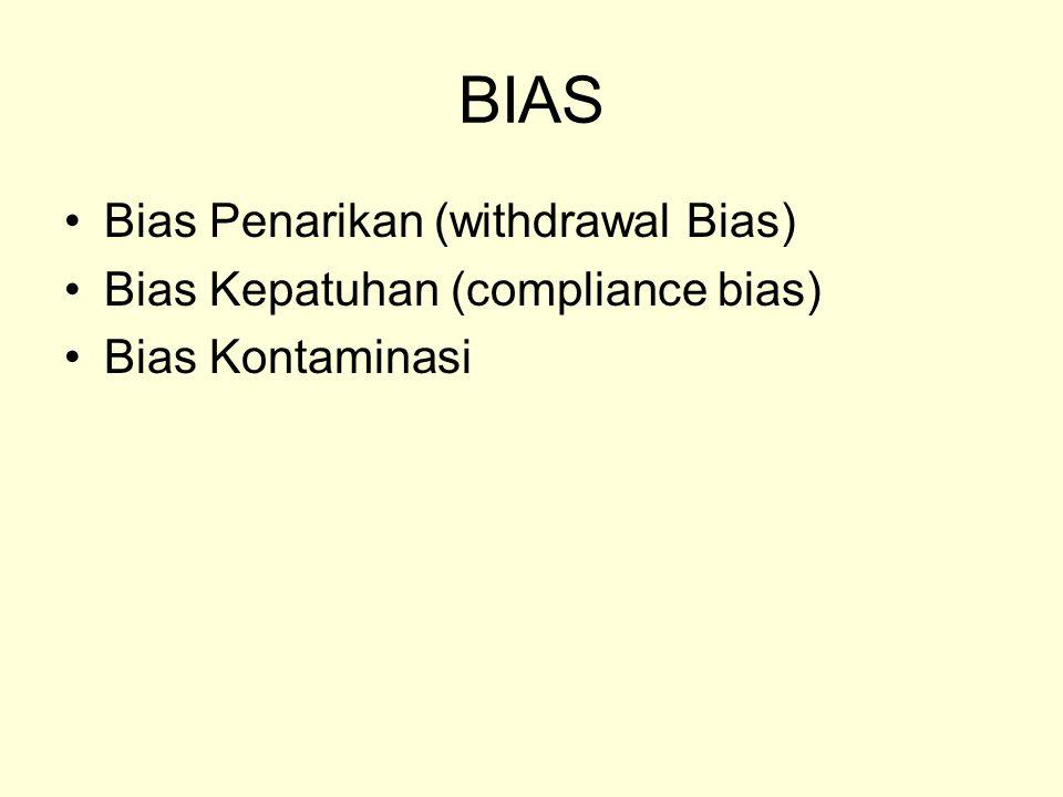 BIAS Bias Penarikan (withdrawal Bias) Bias Kepatuhan (compliance bias) Bias Kontaminasi