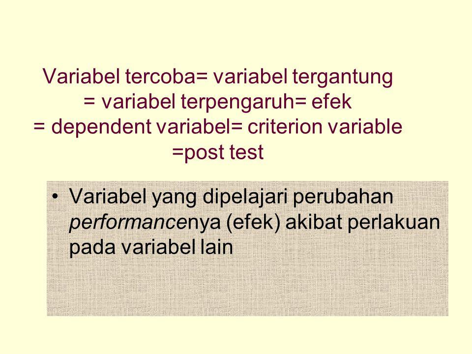 Variabel tercoba= variabel tergantung = variabel terpengaruh= efek = dependent variabel= criterion variable =post test Variabel yang dipelajari peruba