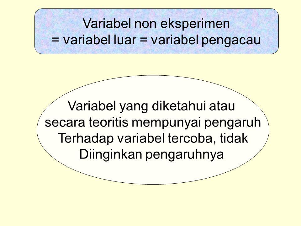 Variabel non eksperimen = variabel luar = variabel pengacau Variabel yang diketahui atau secara teoritis mempunyai pengaruh Terhadap variabel tercoba,
