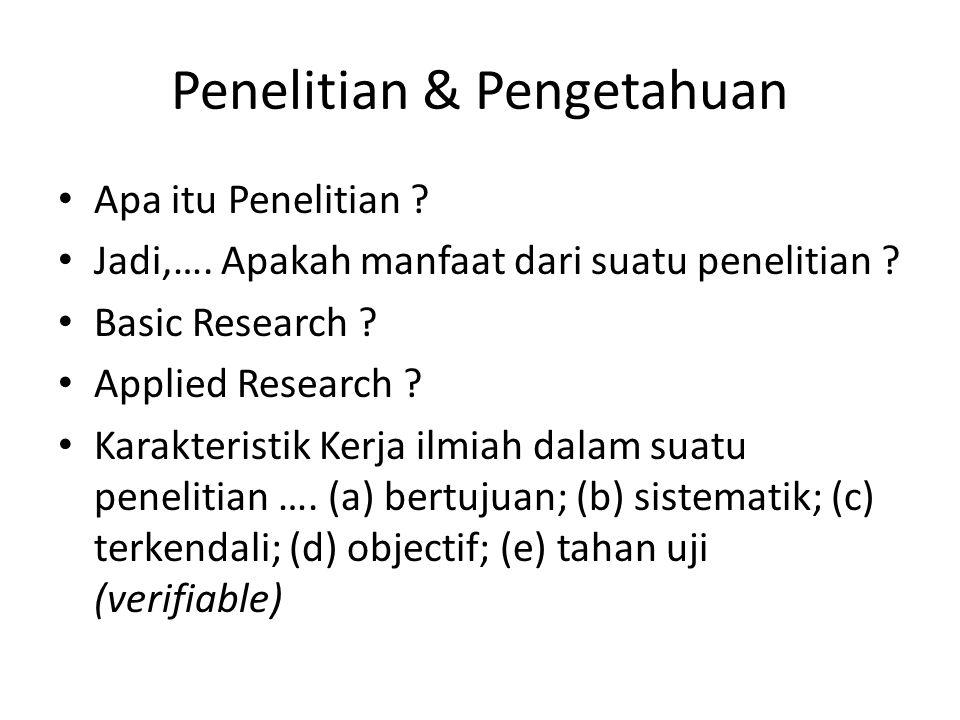 Penelitian & Pengetahuan Apa itu Penelitian ? Jadi,…. Apakah manfaat dari suatu penelitian ? Basic Research ? Applied Research ? Karakteristik Kerja i