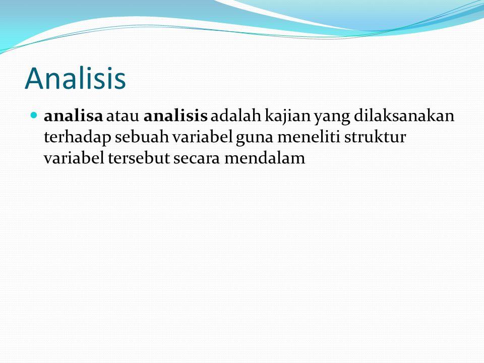 Analisis analisa atau analisis adalah kajian yang dilaksanakan terhadap sebuah variabel guna meneliti struktur variabel tersebut secara mendalam