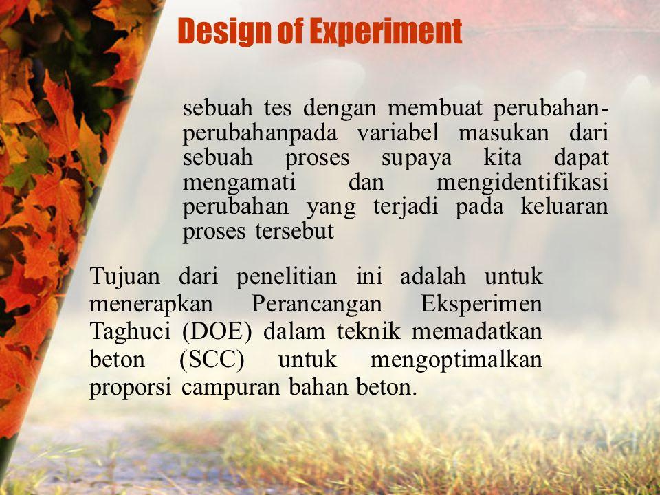 Design of Experiment sebuah tes dengan membuat perubahan- perubahanpada variabel masukan dari sebuah proses supaya kita dapat mengamati dan mengidentifikasi perubahan yang terjadi pada keluaran proses tersebut Tujuan dari penelitian ini adalah untuk menerapkan Perancangan Eksperimen Taghuci (DOE) dalam teknik memadatkan beton (SCC) untuk mengoptimalkan proporsi campuran bahan beton.