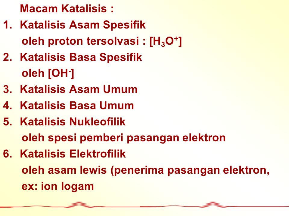 Macam Katalisis : 1.Katalisis Asam Spesifik oleh proton tersolvasi : [H 3 O + ] 2.Katalisis Basa Spesifik oleh [OH - ] 3.Katalisis Asam Umum 4.Katalis