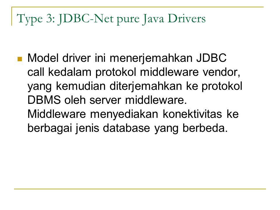 Type 3: JDBC-Net pure Java Drivers Model driver ini menerjemahkan JDBC call kedalam protokol middleware vendor, yang kemudian diterjemahkan ke protoko