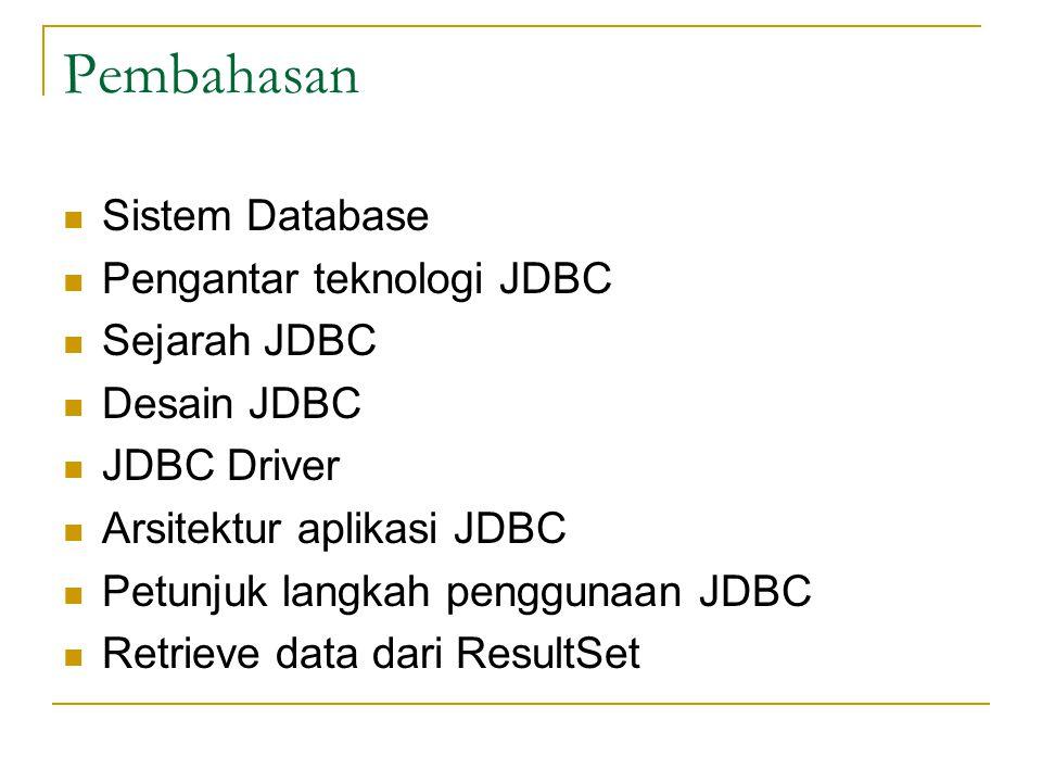 Menggunakan Microsoft Access via ODBC (5) Gunakan sun.jdbc.JdbcOdbcDriver sebagai nama class dari JDBC driver Class.forName( sun.jdbc.odbc.JdbcOdbc Driver ); Gunakan jdbc:odbc:Northwind sebagai alamat database, dan gunakan empty string pada username dan password Connection con=DriverManager.getConnection(jdbc:odbc:Northwind, , );