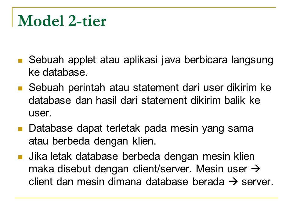 Model 2-tier Sebuah applet atau aplikasi java berbicara langsung ke database. Sebuah perintah atau statement dari user dikirim ke database dan hasil d