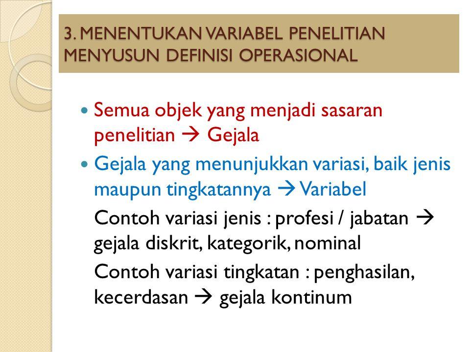 3. MENENTUKAN VARIABEL PENELITIAN MENYUSUN DEFINISI OPERASIONAL Semua objek yang menjadi sasaran penelitian  Gejala Gejala yang menunjukkan variasi,