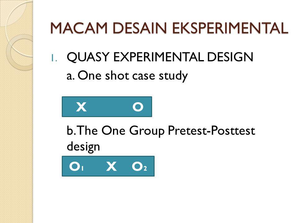 MACAM DESAIN EKSPERIMENTAL 1. QUASY EXPERIMENTAL DESIGN a. One shot case study b. The One Group Pretest-Posttest design X O O 1 X O 2