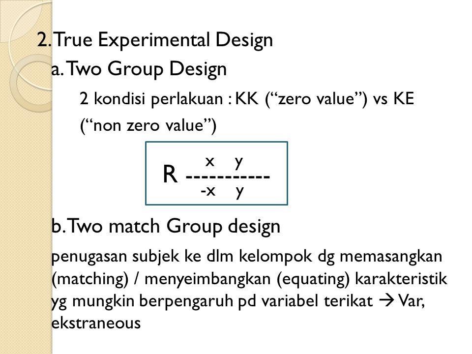 "2. True Experimental Design a. Two Group Design 2 kondisi perlakuan : KK (""zero value"") vs KE (""non zero value"") b. Two match Group design penugasan s"